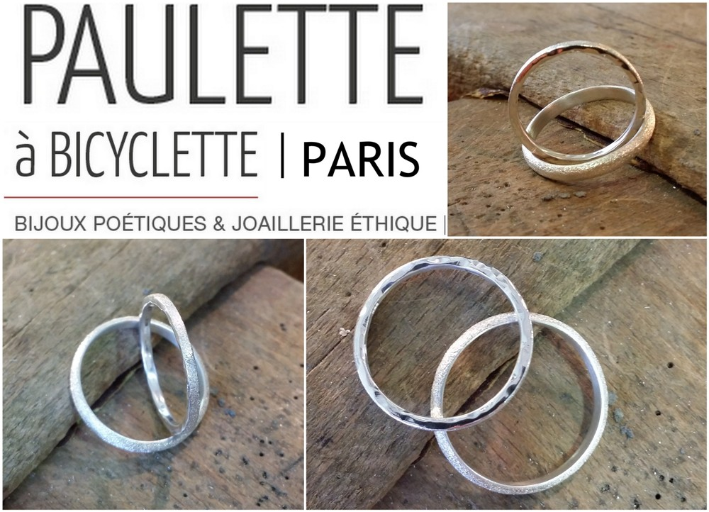 alliances-mariage-originales-createur-paris-argent-or-martele-sable-paulette-a-bicyclette